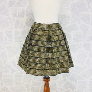 Ginger G Shiney Gold Pleated A-Line Skirt Large